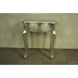 Stylowy Srebrny Stolik z Szufladą - Glamour