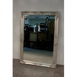 Lustro w Srebrnej Ramie - Fazowana Tafla 102cm x 72cm