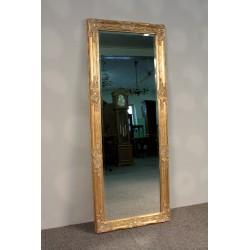 Lustro w Złotej, Zdobionej Ramie - Fazowana Tafla 132cm x 52cm.