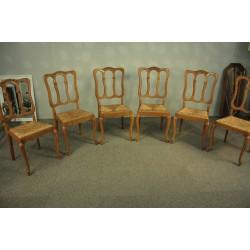 Stylowe Dębowe Krzesła Ludwik XV - kpl. 6 szt.
