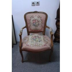 Fotel w Stylu Ludwik XV z Gobelinowym Obiciem