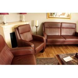 Kpl. Wypoczynkowy-Sofa + 2 Fotele -Skóra Naturalna